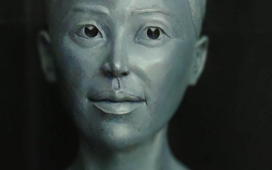 Présentation de Saphira, buste en terre cuite patinée, 2020