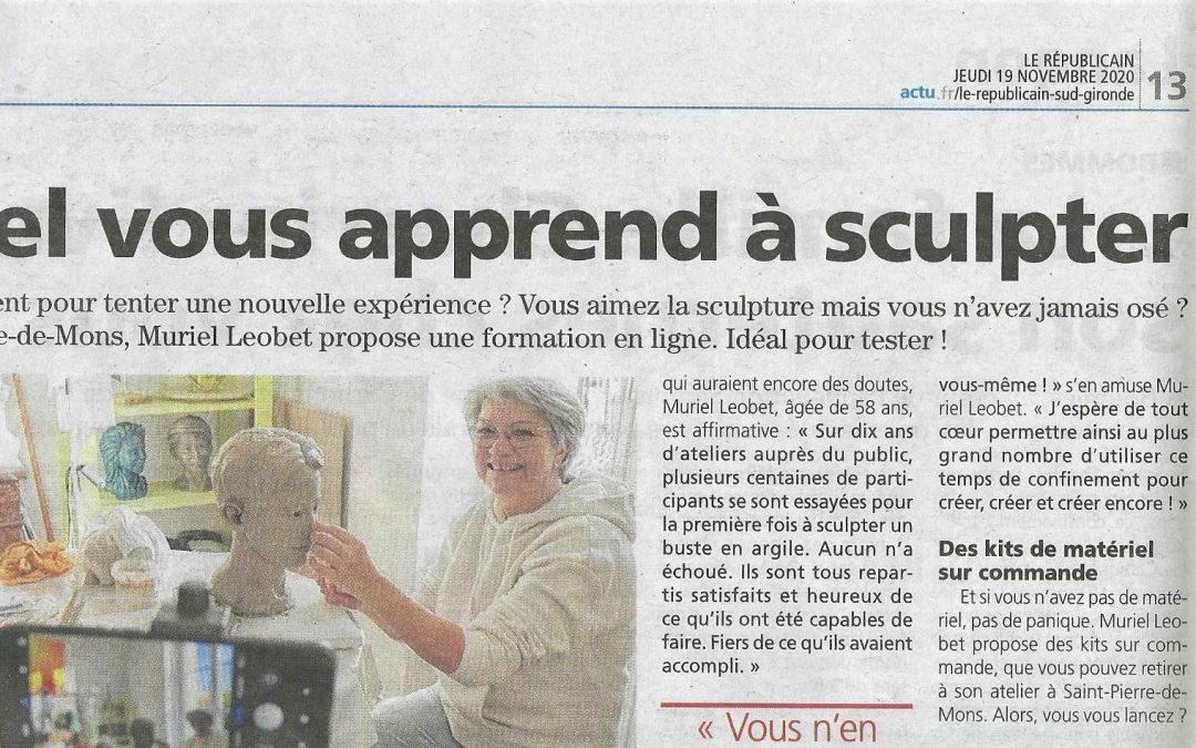 La presse parle de ma formation «Sculpter un buste en argile de A à Z» !